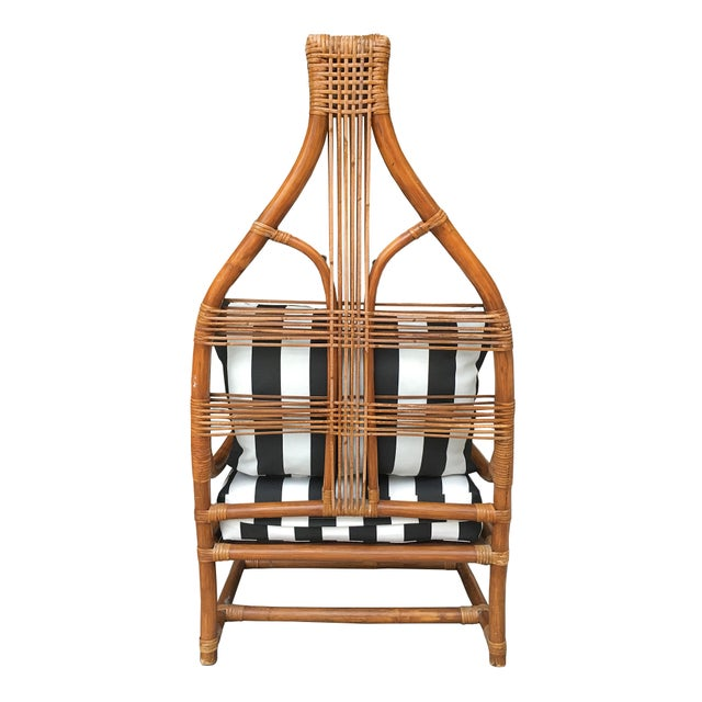 High Back Rattan Throne Chairs - A Pair - Image 4 of 6