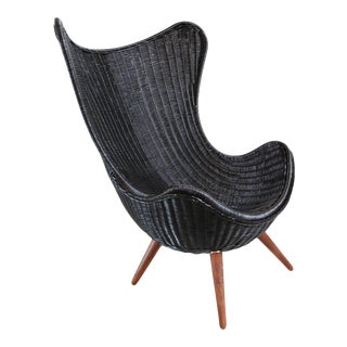 Ebony Wicker Egg Chair For Sale