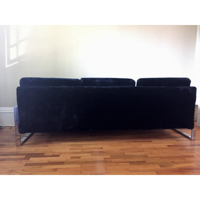 Milo Baughman Style Chrome Flat Bar Sofa - Image 7 of 10