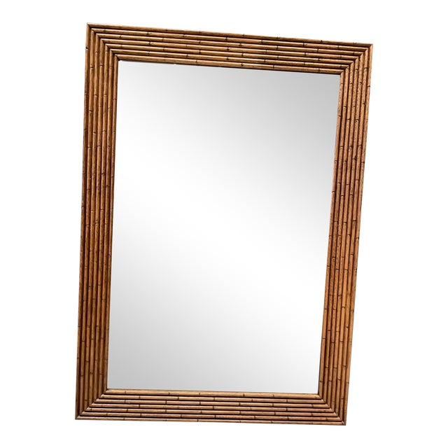 Vintage Walnut Bamboo Mirror For Sale