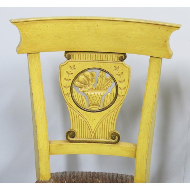 French French Country Carved & Painted Rush Seat Chairs - Set of 6 For Sale - Image 3 of 7