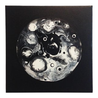 Abstract Black and White Moon Painting For Sale