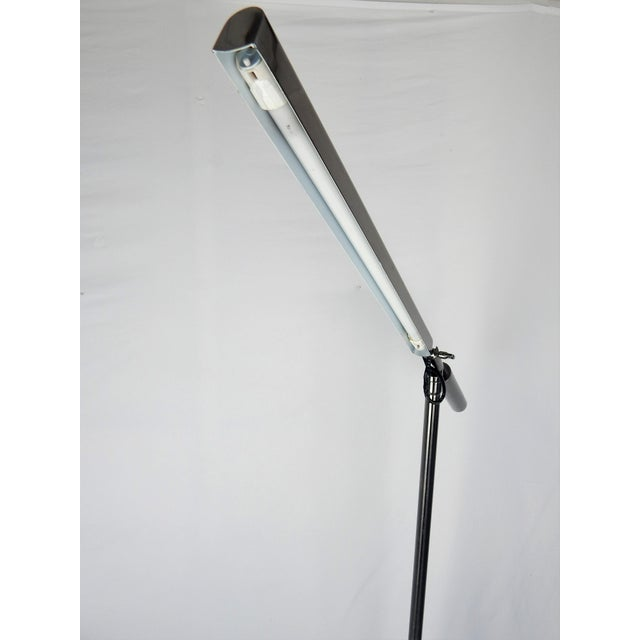 Late 20th Century Brushed Chrome Fluorescent Floor Lamp For Sale - Image 5 of 11