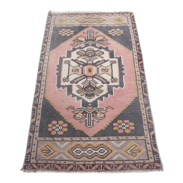 """1960s Turkish Pure Wool Carpet - 43"""" X 21"""" For Sale"""