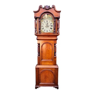 Antique 19c English Regency Fruitwood Grandfather Clock For Sale