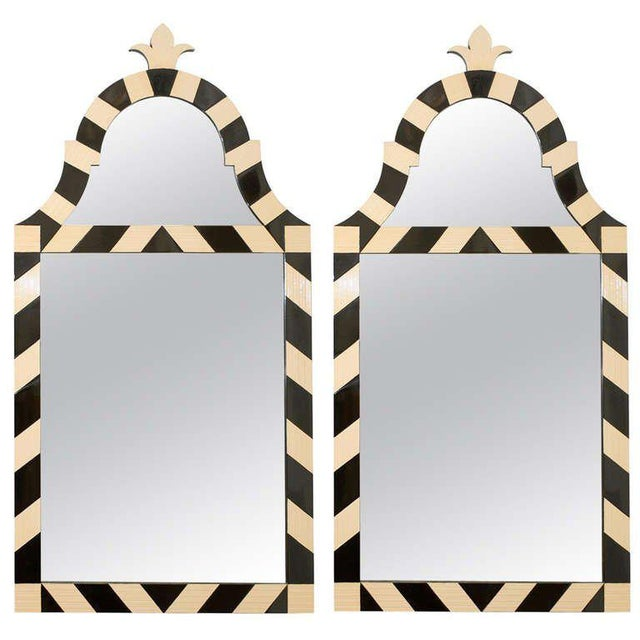 Fabulous Pair of Modern High Style Mirrors in Cream and Black For Sale - Image 10 of 10