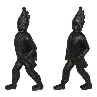 Early 20th Century Cast Iron Hessian Soldier Andirons - a Pair For Sale