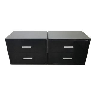 Modani Black Lacquered Side Tables - A Pair