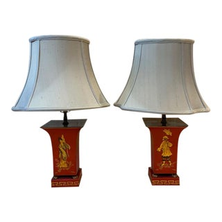 Chinoiserie Tole Lamps With Silk Shades - a Pair For Sale