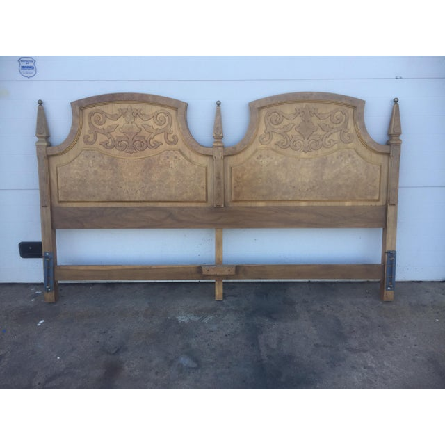 American Of Martinsville Mid Century Burl Wood King Size Headboard - Image 2 of 5