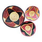 Image of African Black Red Woven Baskets - Set of 3 For Sale