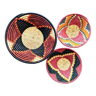 African Black Red Woven Baskets - Set of 3 For Sale