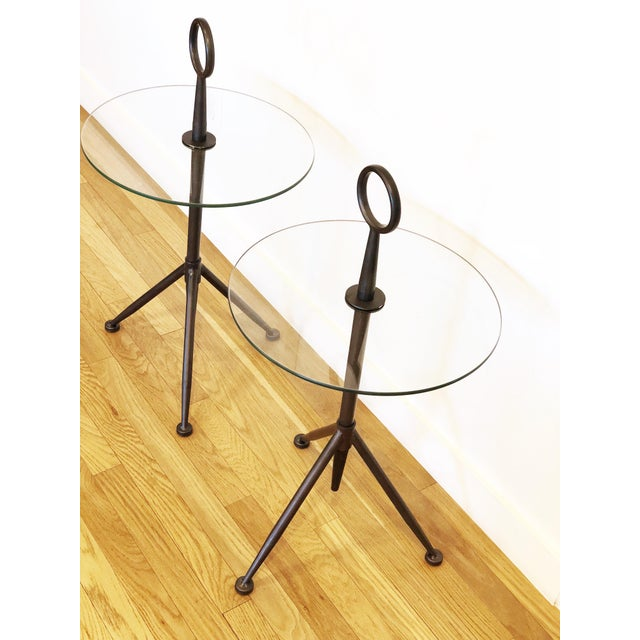 Vintage Metal Ring Glass Side Tables - A Pair - Image 2 of 8