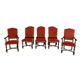 Set of 8 Hickory Chair Co William & Mary Style Upholstered Dining Chairs For Sale