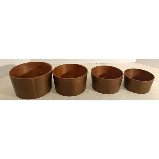 Vintage Wooden Nesting Snack Bowls - Set of 4 - Image 5 of 10