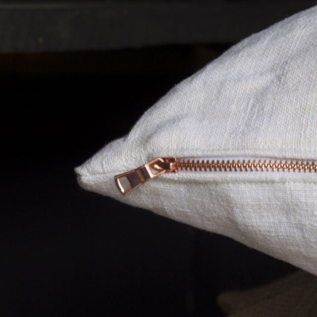 Vintage Linen Pillow Cover With Copper Zipper - Image 4 of 6