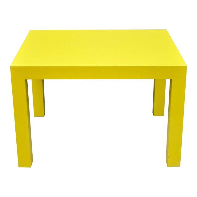 1970s Contemporary Thayer Coggin Milo Baughman Yellow Parsons End Table For Sale