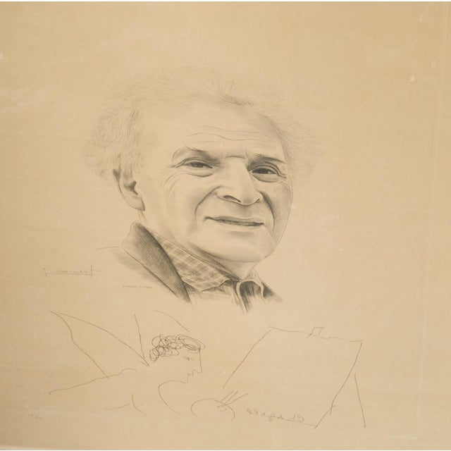 Portraiture Mid 20th Century Engraving of Marc Chagall by Jacques Combet With Chagall Sketch For Sale - Image 3 of 9