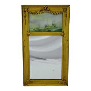 Vintage Gilt Gesso Framed Split Column Mirror With Nautical Print