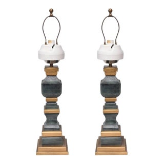 Monumental Wooden Table Lamps, 1960s, Usa For Sale