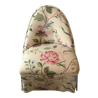 French Country Floral Chintz Upholstered Slipper Chair