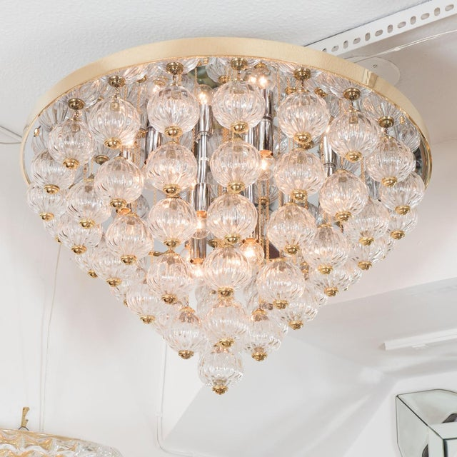 Hollywood Regency 1970s Tiered Suspended Gold and Clear Austrian Glass Ball Flush Mount For Sale - Image 3 of 5