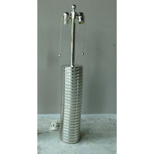 Large 1970s Laurel Towering Chrome Steel Lamps With Chromed Steel Shades - a Pair For Sale In Miami - Image 6 of 8