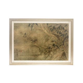 "1990s Sung Tze-Chin Chinoiserie ""Wild Birds in Winter Twilight"" Ink on Canvas Painting Framed For Sale"