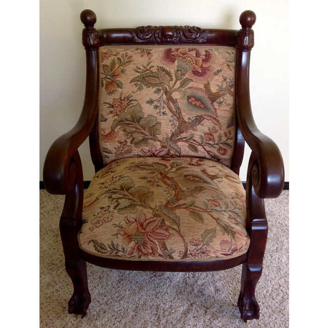 Antique Mahogany Empire Parlor Chair - Image 2 of 11 - Antique Mahogany Empire Parlor Chair Chairish