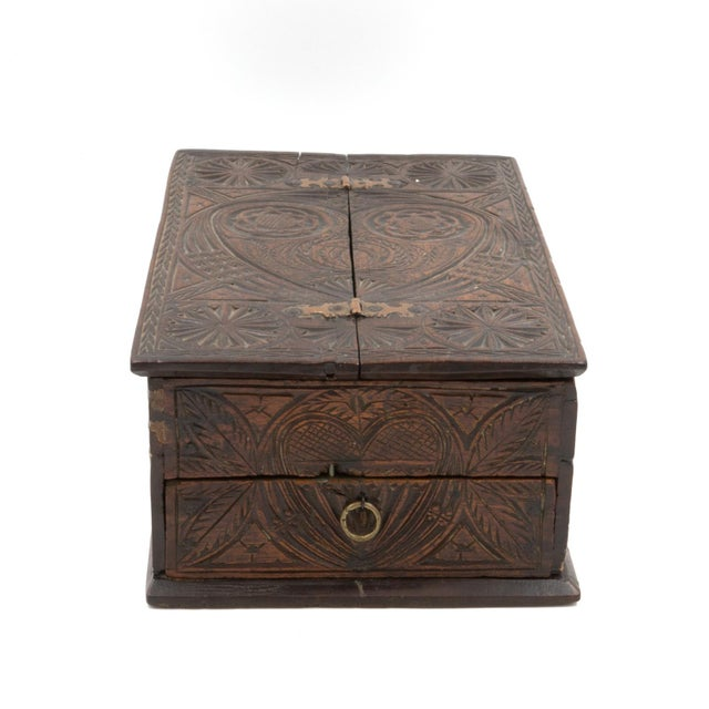 Brass A 17th Century Carved Oak Box With Side Drawer Dated 1655. For Sale - Image 7 of 13