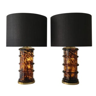 Glass Table Lamps With Tortoishell Effect For Sale