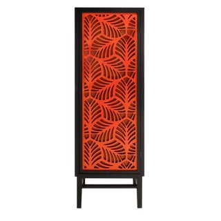 Modern Black Palm Cabinet in Two-Tone Coral W/ Side Cut-Outs For Sale