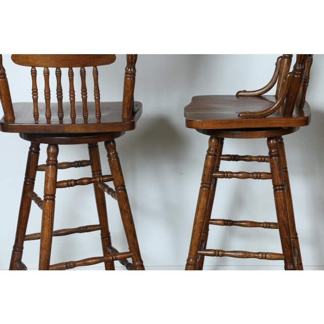 Country Style Solid Oak Bar Stools - Set of 4 - Image 9 of 9