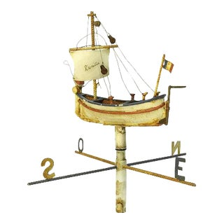 1930's Architectural Salvage French Sailing Boat Weathervane For Sale