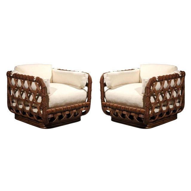 Fantastic Pair of Vintage Rattan Basket Loungers by Danny Ho Fong For Sale - Image 10 of 10