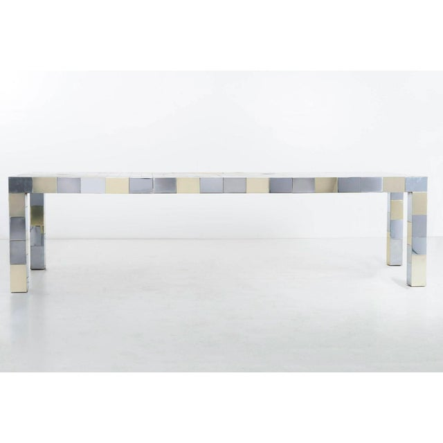 Evans for Directional Parsons dining table. Brass, chrome and brushed chrome metal mosaic brick geometric seamless linear...