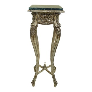 French Style Green Marble Top Paint Decorated Pedestal Stand For Sale