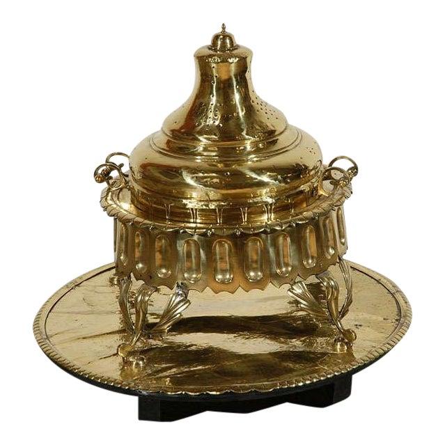 Middle Eastern Polished Brass Incense Burner For Sale