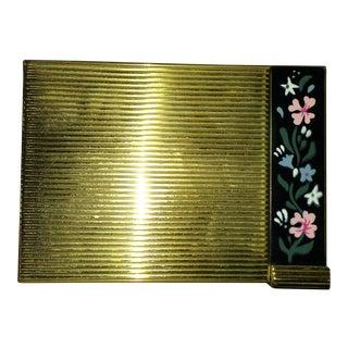 Vintage Volupte Brass Powder Compact and Lipstick Holder For Sale