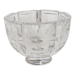 Vintage Orrefors Footed Crystal Bowl by Simon Gate - Thousand Windows For Sale