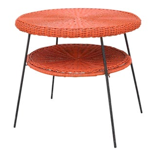 1950s Mid-Century Modern Carl Aubock Style Red Rattan & Wrought Iron 2-Tier Side Table For Sale