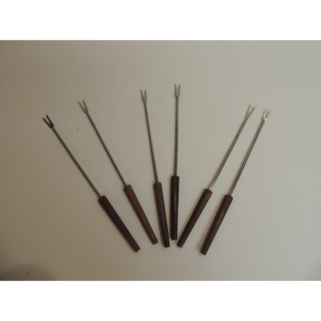 Set of 6 Vintage Fondue Serving Forks with Wooden Handles. Never used, in original box. Denmark 1950's
