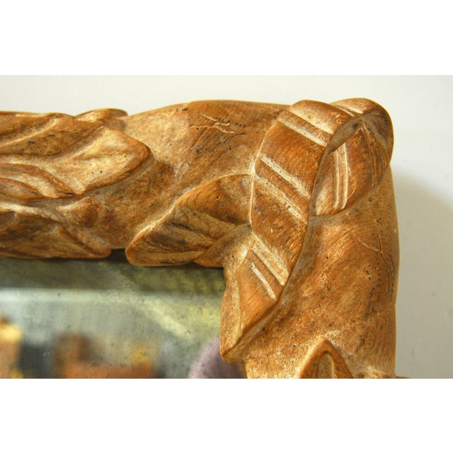 Monumental Hand-Carved Laurel Leaf Wood Mirror - Image 5 of 6