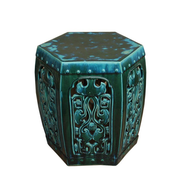 Asian Ceramic Clay Green Turquoise Glaze Hexagon Motif Garden Stool Table For Sale - Image 3 of 7