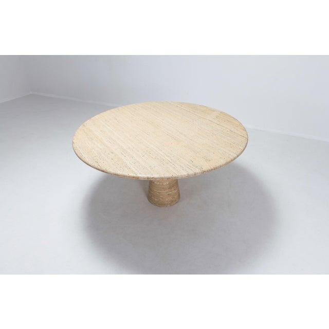 Angelo Mangiarotti Angelo Mangiarotti Round Travertine Dining Table For Sale - Image 4 of 10
