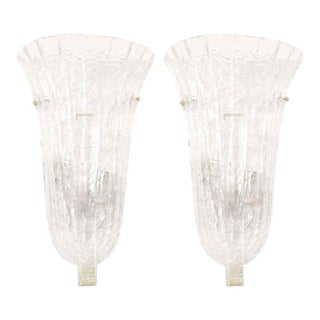 Venini Murano Ice Glass Italian Wall Sconces - A Pair For Sale