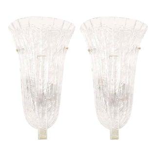 Venini Murano Ice Glass Italian Wall Sconces - A Pair