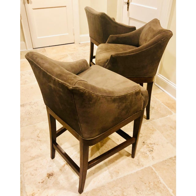 Contemporary Vanguard Furniture Contemporary Suede Bar Stools -Set of 3 For Sale - Image 3 of 11