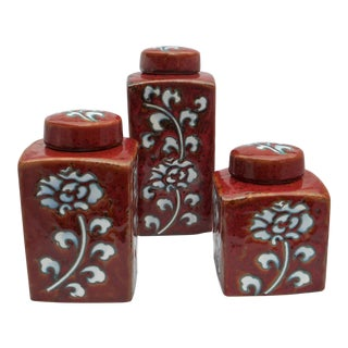 Chic Kitchen Oxblood Red Glaze Pottery Canisters - Set of 3 For Sale