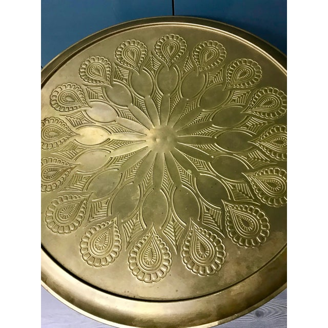 Gold 20th Century Moroccan Repousse Design Tray Table For Sale - Image 8 of 9